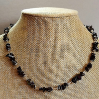 Black AB Glass Chip Necklace with Gold Tone Spacers