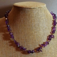 Purple Glass Chip Necklace with Gold Tone Spacers