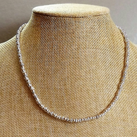 Silver Plated Ball and Daisy Spacer Chain Beaded Necklace