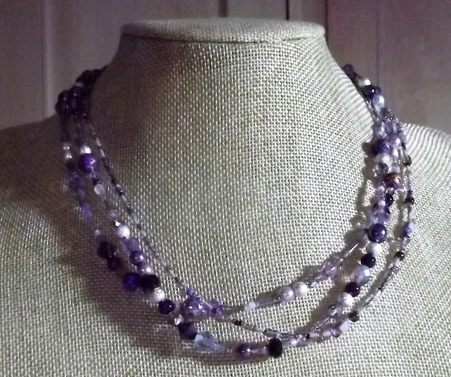 Purple Colour Three Strand Beaded Necklace
