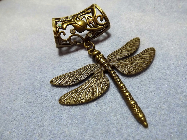 Scarf Jewelley. Dragon Fly. Scarf Slider ring. Bronze Tone