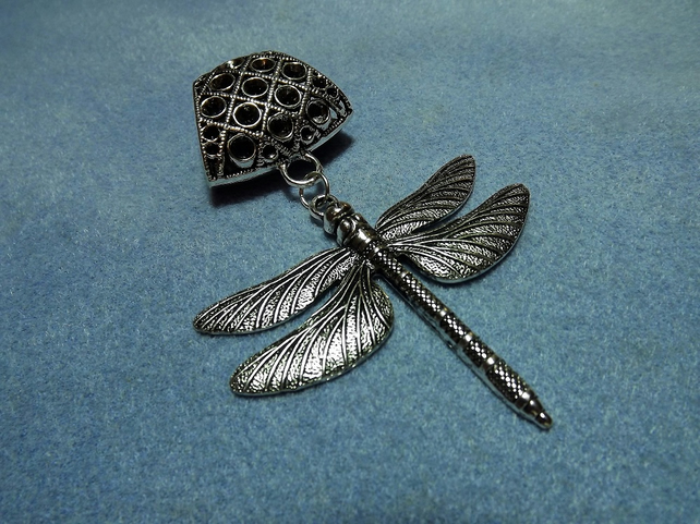 Scarf Jewelley. Dragon Fly. Scarf Slider ring. Silver tone