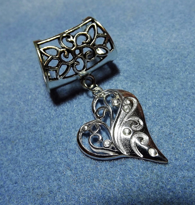 Scarf Jewelley. Scroll heart. Scarf Slider ring. Silver tone