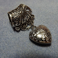 Scarf Jewelley. Puffy Heart. Scarf Slider ring. Silver tone