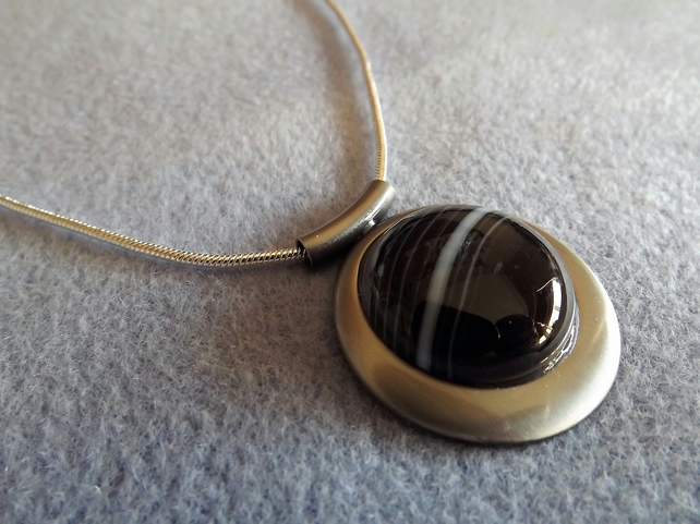 Black Stripped Agate Cabochon Necklace. Satin Silver Plate. (Style NP47)