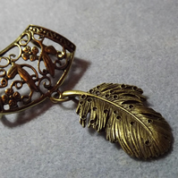 Scarf Jewelley. Feather. Scarf Slider ring. Bronze tone