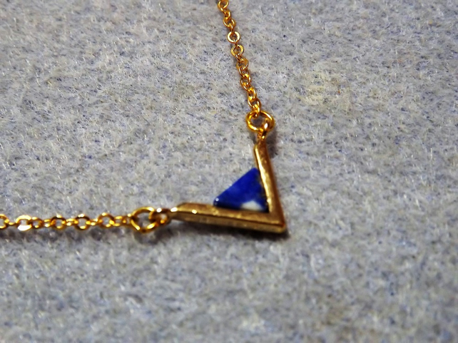 Lapis Lazuli Gemstone Traingle Pendant Necklace.  Gold Plate (style 45)