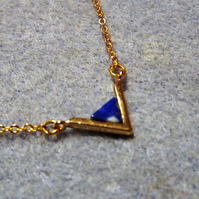 Lapis Lazuli Gemstone Triangle Pendant Necklace.  Gold Plate (style 45)