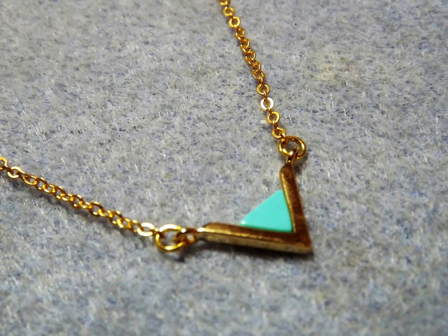 Blue Turquoise Gemstone Triangle Pendant Necklace. Gold Plate (style NP46)