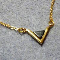 Black Turquoise Gemstone Triangle Pendant Necklace. Gold Plate (style 47)