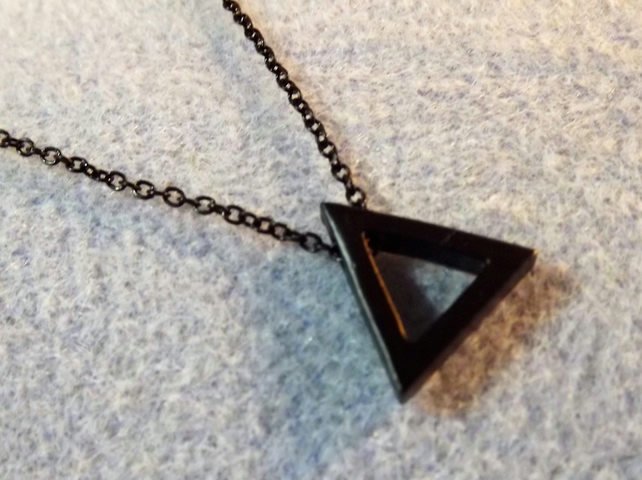 Black Geometric Triangle Necklace Pendant. (style NP)