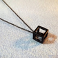 "Black Geometric 3D Cube Necklace. 18"" Length (Style NP)"