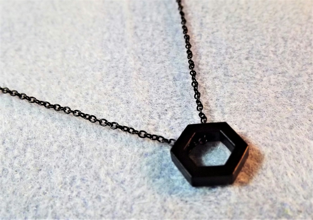"Black Geometric Necklace. Hexagon Necklace. 18"" necklace (Style NP)"