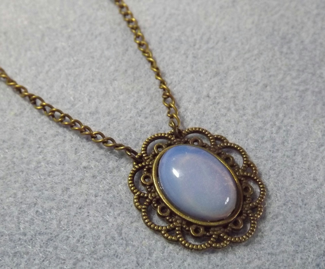 Opalite Cabochon Necklace in a bronze tone Lacey Cabochon Setting (Style NP)