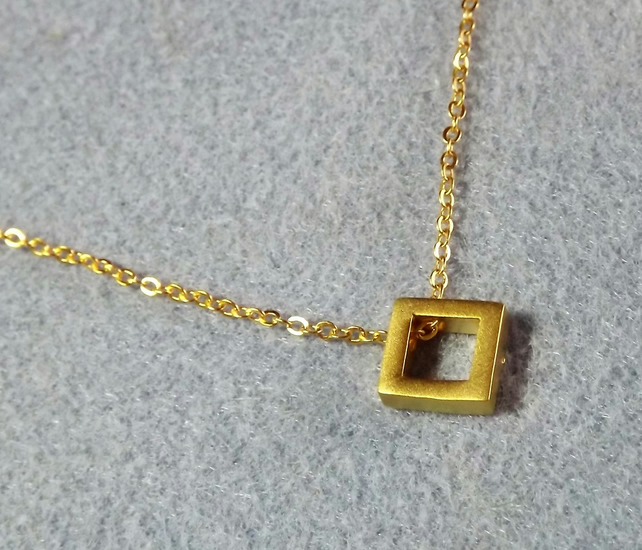 "Geometric Square Necklace.  24K gold plate. 16"" chocker necklace. (style NP)"