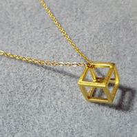 "Geometric 3D Cube Necklace. Gold Plate. 18"" Length (Style NP)"