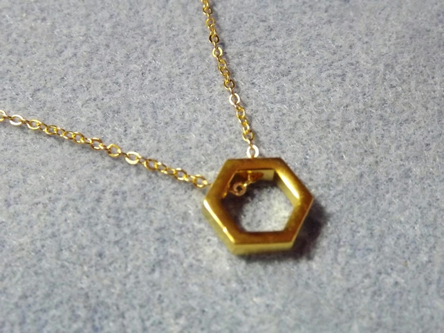 "Geometric necklace. Hexagon Necklace. Gold Plate. 16"" choker length (Style NP)"