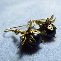 Navy Glass Pearl and Gold Tone Water Lily Beaded Earrings