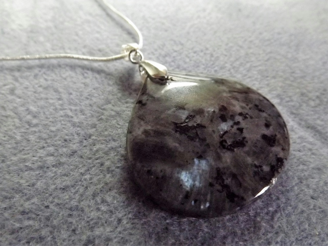 Larvikite Gemstone Necklace Pendant.  Grey Necklace. (Style 22)