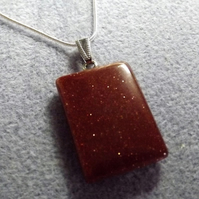 Goldstone Gemstone Pendant.  Rectangular Brown Glass Pendant (Style 23NP)