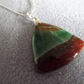 Green and Orange Agate Druzy Triangle Gemstone Pendant Necklace (Style 32NP)