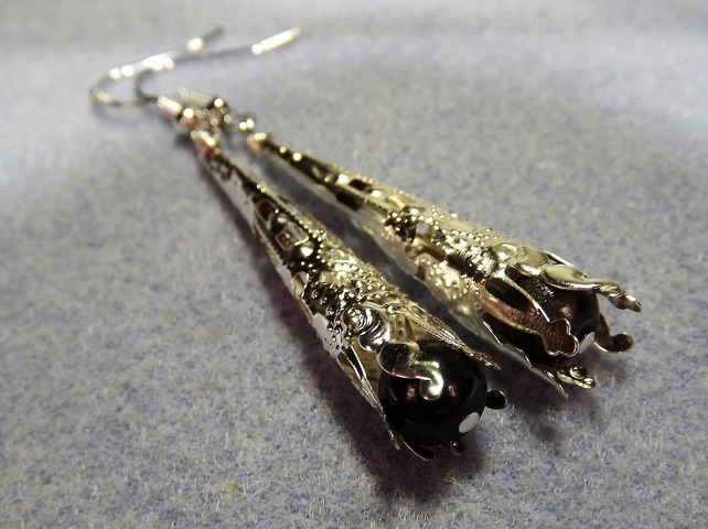 Silver Plated  and Black Miracle Bead Dangle Earrings