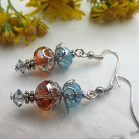 Crystal Rondelle Drop Beaded Earrings Golden Amber and Blue Silver Plated