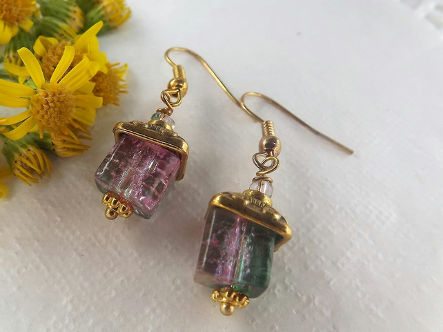 Pink and Green Watermelon Crackle Cube Beaded Dangle Drop Earrings in Gold Plate
