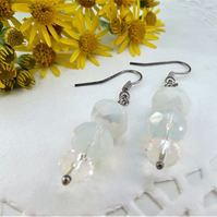 White Beaded Drop Dangle Earrings in silver plate
