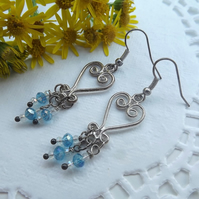 Chandelier Crystal Blue Tree Drop Earrings.  Silver Plate