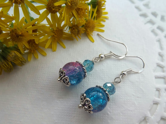 Two Tone Pink and Blue Crackle Glass Earrings. Silver plated.