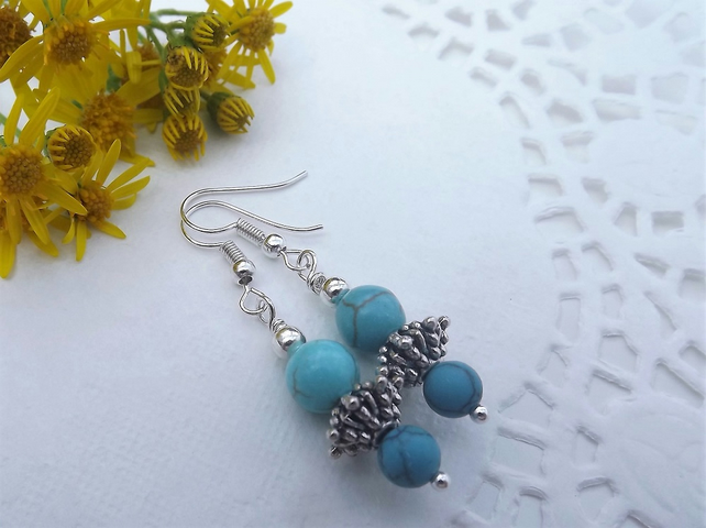 Turquoise Bead and Silver Plate Spacer Bead Earrings