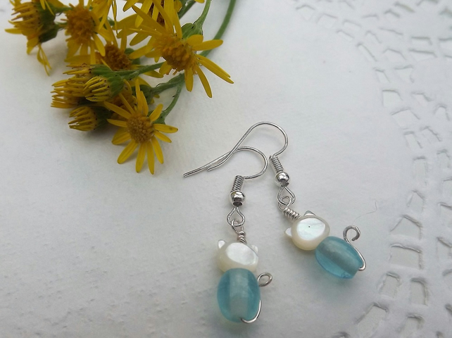 Cute White Mother of Pearl and Blue Glass Cat Earrings