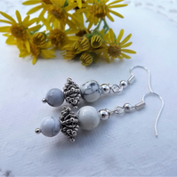 White Howlite Bead and Silver Plate Bead Earrings