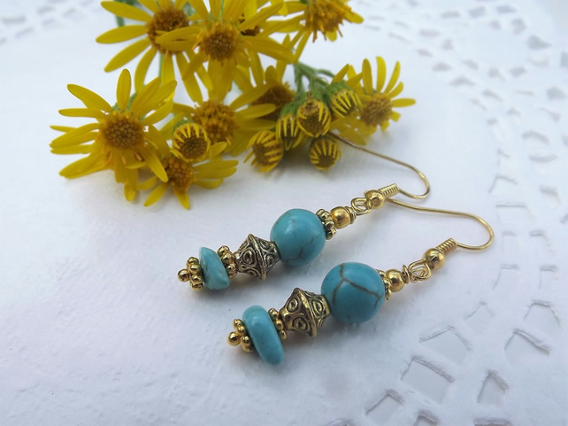 Turquoise Bead and Gold Plate Spacer Bead Earrings