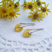 Swarovski Crystal 10mm Heart Drop Earrings. Golden Yellow Silver Heart Earrings