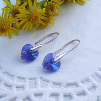 Swarovski Crystal 10mm Drop Heart Earrings.  Sapphire Blue Heart Silver Earrings