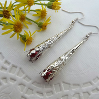 Silver Plated and Red Miracle Bead Dangle Earrings