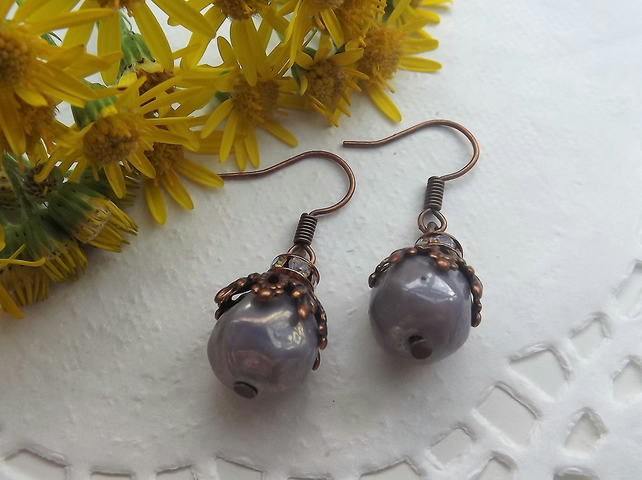 Lilac Grey Beaded Drop Earrings with Red Copper Leaf Design