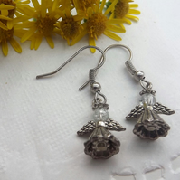Silver Plated Angel Drop Earrings.  Christmas Earrings.  Fairy Earrings.