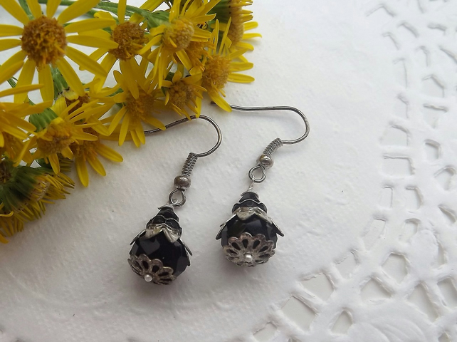 Black Beaded Drop Earrings with Silver Plate Flower Bead Cap
