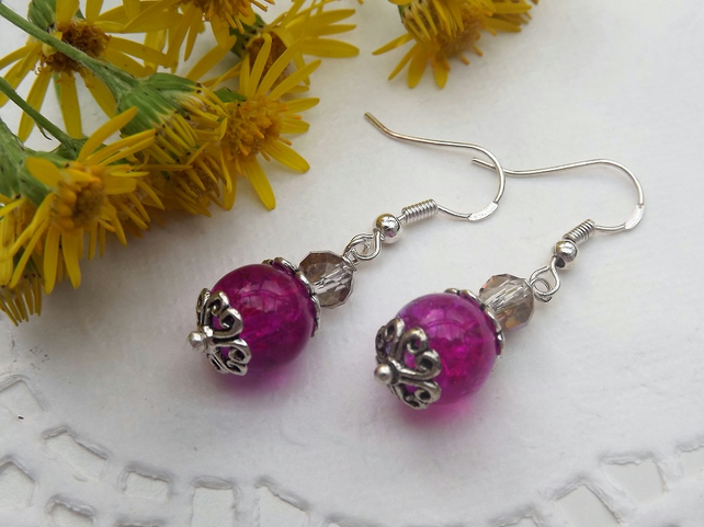 Two Tone Pink and Lilac Crackle Glass Earrings. Silver plated.