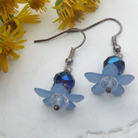 Blue Flower Daisy Beaded Drop Earrings