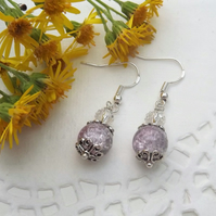 Two Tone Lilac and Grey Crackle Glass silver Plated earrings