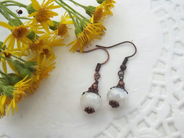 Red Copper and White Beaded Drop Earrings