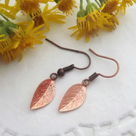 Rose Gold Coloured Copper Leaf Earrings