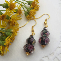 Black Lampwork Gold Plated Graduated Bead Earrings