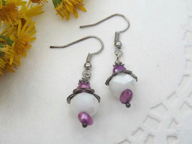 Milky White Bead and Purple Pearl Drop Earrings in Silver Plate