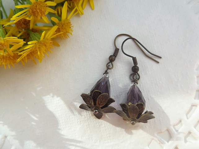 Water Lily Earrings Beaded Purple in Brass Tone