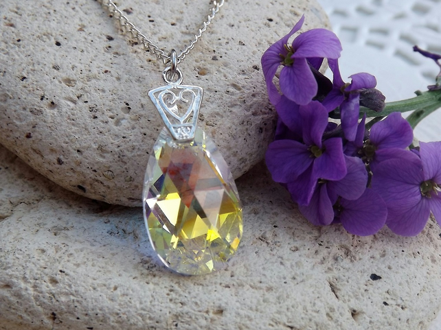 Swarovski Crystal AB Crystal 22mm Almond Shaped Pendant (style 5)